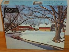 MT. VERNON WISCONSIN Jigsaw Puzzle 500 Pieces NEW red barn & stream in Winter