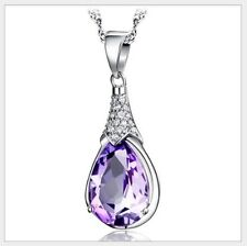 Silver Swarovski Elements Crystal Amethyst Waterdrop Pendant Necklace Chain C13
