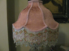 "Victorian French Large Floor Table Lamp Shade Poppy "" Rose"" Bead  Fringe"