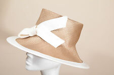 Whiteley stunning glossy gold/beige hat ideal for wedding races