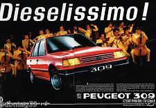 Publicité Advertising 1986 (2 pages) Peugeot 309 Diesel