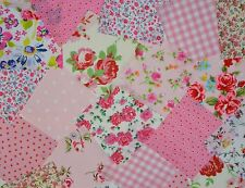 "50 x 4"" PATCHWORK FABRIC SQUARES INCL CATH KIDSTON COTTON ROSALI PINK  BUNDLE"