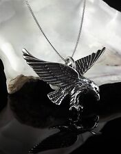 Solid Sterling Silver 925 Eagle Pendant 16/18 Inch Necklace Chain Gift Box