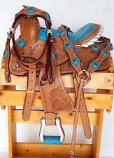 "10"" Gator Seat Western Youth Saddle Mini Pony Trail Blue Headstall Breast Collar"