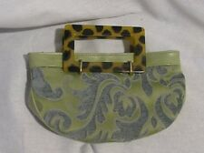 "OCCHIO ""one of a kind"" Green Leather & Silk Evening Clutch with Lucite Handles"