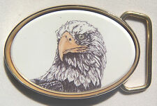 Belt Buckle Barlow  Scrimshaw Carved Painte Art Traditional Eagle Head 590142c