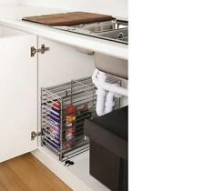 NEW CHILD PET SAFETY LOCKABLE DETERGENT WIRE BASKET STORAGE UNDER SINK SLIDE-OUT