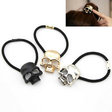 New Lady Rock Retro Punk Metal 3D Skull Hair Band Rope Tie Wrap Ponytail Holder
