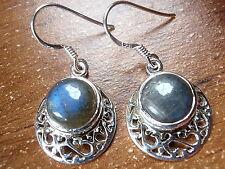 Labradorite Filigree Earrings 925 Sterling Silver Dangle Drop New