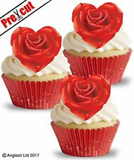 PRE-CUT ROSE HEARTS EDIBLE WAFER PAPER CUP CAKE VALENTINES TOPPERS DECORATIONS