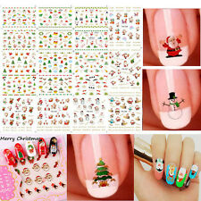 12 Sheet Christmas 3D Nail Art Stickers Snowmen & Cute Snowflakes Nail Decals