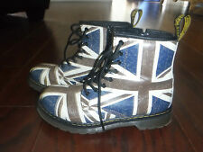 DR MARTEN'S DELANEY ENGLAND BRITISH FLAG PRINT LACE UP BOOTS LADIES SZ 36 / 5