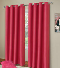 Ring Top Eyelet Thermal Blackout Pair Ready Made Curtains Black,Cream,Blue,Pink