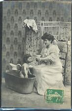 NE034 MERE & Bébé BAIN BAIGNOIRE MOTHER & BABY BATH BATHTUBE PHOTO d'ART