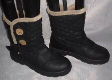 WOMENS BLACK PULL ON SYNTHETIC BLOCK LOW HEEL ANKLE BOOTS Size:5/38(WB366)