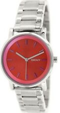DKNY NY2267 SOHO Silver Stainless Steel Red Dial Women's Ladies Analog Watch NWT