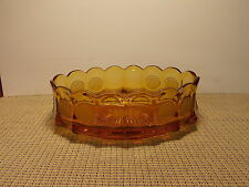 """Fostoria Crystal Coin Glass Amber Oval Bowl 9"""" x 5"""""""
