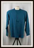 TEAL GREEN ~ COLLARLESS LONG SLEEVE GRANDAD SHIRT ~ 100% COTTON S, M, L, XL, XXL