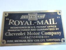 Typenschild Schild Chevrolet Royal Mail ID-plate plaque du constructeur S20