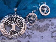 VALENTINES  CIRCLE OF LOVE TREE OF LIFE FAMILY NECKLACE SET SILVER SCARF CHARM