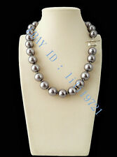 14mm AAA+ Gray South Sea shell Pearl Necklace 18""