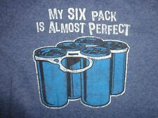 "Blue ""My Six Pack is Almost Perfect"" T Shirt L Free US Shipping"