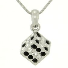 W Swarovski Crystal 3D Dice Casino Game Square Cube Black Clear Pendant Necklace