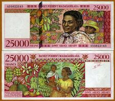 Madagascar 25000 (25,000) Francs ND (1998) PIck 82  A-Prefix UNC   Highest Den.