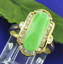 0.45 ct LADIES DIAMOND JADEITE JADE RING YELLOW GOLD 18K last one left