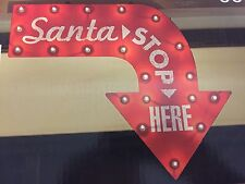 "New 24"" Santa Stop Here Lighted Sign Outdoor Indoor Christmas Lights Red Holiday"