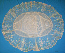 CHARMING LARGE FRENCH NORMANDY LACE BOUDOIR PILLOW OVAL PATCHWORK