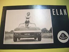 Prospekt Sales Brouchure Lotus Elan Dimensions Colin Chapman Racing Suspension