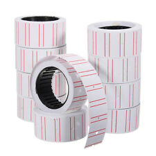 10 RolBS Price Label Paper Tag Sticker MX-5500 Labeller Gun White Red Line BS