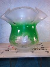 "Antique Tulip Duplex Aladdin B H Oil Lamp Glass Shade Rose Green 3 1/4"" Fitter"
