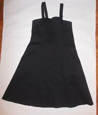 MERONA COLLECTION WOMENS DRESSES BLACK SPAGHETTI STRAP ZIP UP SIDE LINED SZ 12