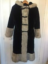 Vintage 1970's Faux Fur Coat Jacket Ice Queen Princess Retro Double Breasted