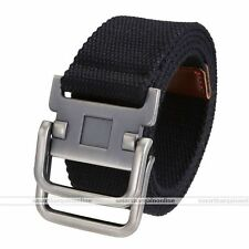 Army Style Pin Buckle Military Mens Sports Web Canvas Belt Double Ring Black