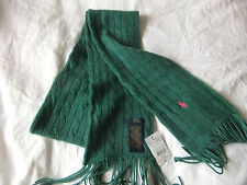 RALPH LAUREN CLASSIC CABLE KNIT SCARF GREEN LONG FRINGE WOOL/CASHMERE BNWT