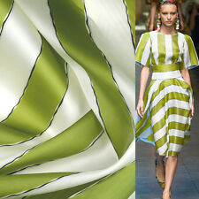 Green and white striped print Thick 100% pure silk organza satin fabric,SOZ029