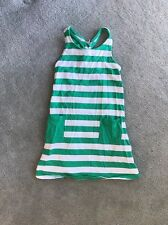 Girl's Size 120 (6-8) HANNA ANDERSSON White/green  Stripe Tank Dress
