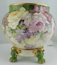 ANTIQUE LIMOGES LARGE VASE BOWL JARDINIERE ROSES,GOLD,LILAC,LION CLAW STAND