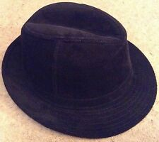 BLACK CORDUROY TRILBY HAT - One Size