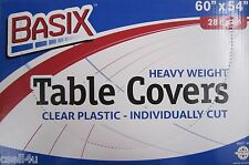 "Basix Clear Disposable Plastic Table Covers Party or Dinner 60"" x 54"" TCB6054"