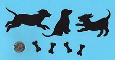Dog Die Cuts - 6 silhouette dogs with 8 bones - any color