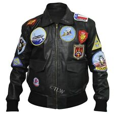 (With Removable Collar) Tom Cruise TOP GUN Leather Jacket Maverick, FAUX Leather