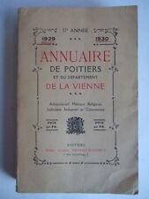 ANNUAIRE DE POITIERS ET DU DEPARTEMENT DE LA VIENNE 1929 1930. GENEALOGIE