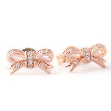 ROSE BOW 925 Solid Sterling Silver Rose Gold White Pave Stones Earring Studs