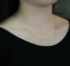 925 Sterling Silver-Korean Clavicle Chain Smile Face Necklace Women Simple Style