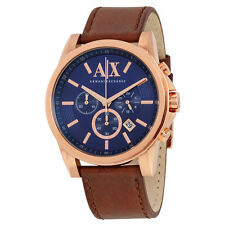 Armani Exchange Outerbanks Chronograph Blue Dial Brown Leather Mens Watch AX2508