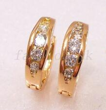 Rose Gold GP CZ Hoop Earrings Xmas Men Girl Unisex Party Club Cubic Zirconia 15m